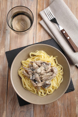 Beef Stroganoff with mushrooms and pasta