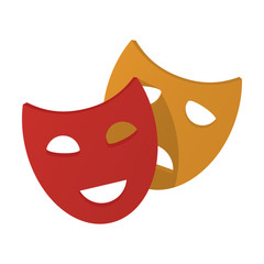 theater mask flat icon with long shadow for web