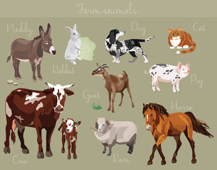 Vector set of different farm animals vector illustration