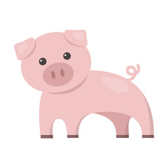 Pig cartoon icon. Illustration for web and mobile design.