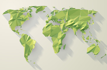 Vector Low Poly World Map. Green origami planet illustration.