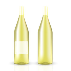 VECTOR PACKAGING: 3D SET of wine bottle on isolated white background. Mock-up template ready for design