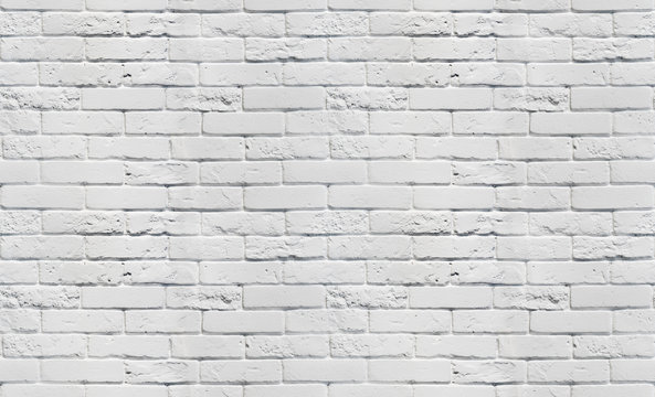 White brick wall texture. Seamless background