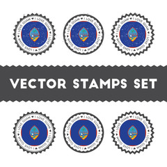 I Love Guam vector stamps set. Retro patriotic country flag badges. National flags vintage round signs.