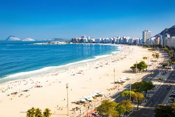 Aerial view of Copacabana beach in Rio de Janeiro