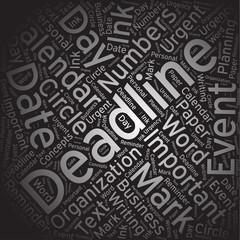 Deadline ,Word cloud art background