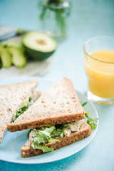 Chicken and avocado wholegrain bread sandwich
