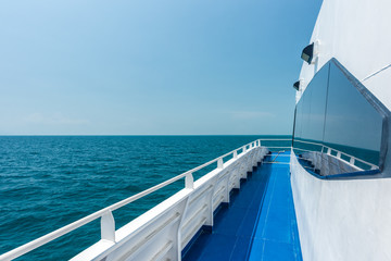Beautiful view from a yacht, open view sea with blue sky