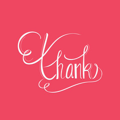 Thank you handwritten vector illustration, dark brush pen lettering isolated on white background