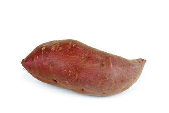red yam on white background