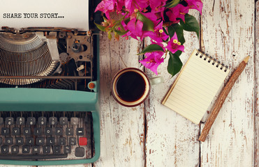 "image of vintage typewriter with phrase ""Share your story"""
