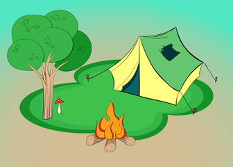Summer hiking - illustration with tent, tree and campfire. Vector