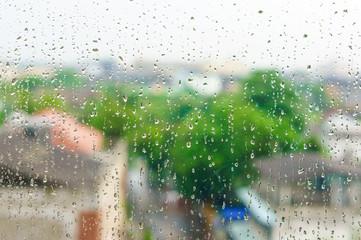 Rain drops on window surface