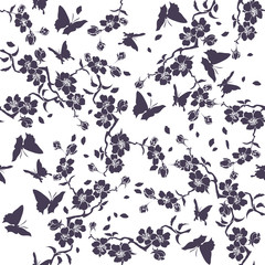 Twig cherry blossoms and butterflies.. Seamless