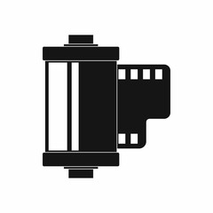 Camera film roll icon, simple style