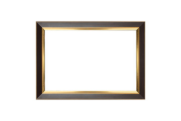 Old wooden with gold frame isolated white background. use clippi