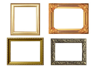 Set of golden frame and wood vintage isolated on white backgroun