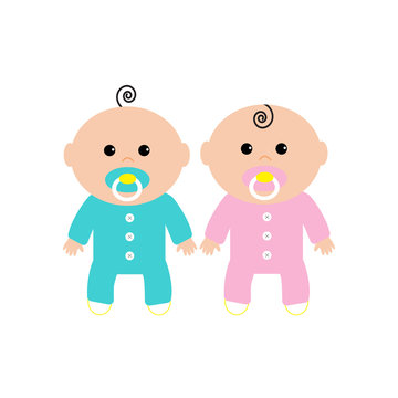 Twins Two cute twin babies on white background. Baby girl and a baby boy. Funny character set. Isolated. Flat design