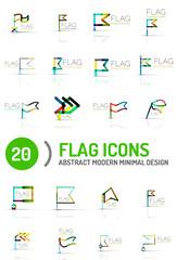 Flag icon logo set, linear design