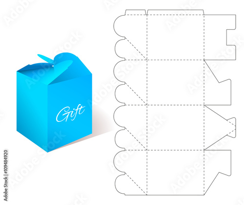Gift Paper Box With Blueprint Template Illustration Of Gift Craft