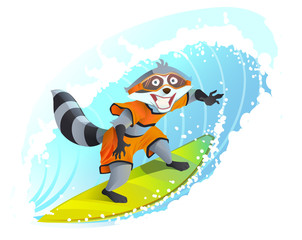 Joyful surfer raccoon. Summer holidays at sea. Animal surfboarder