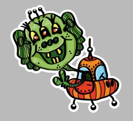 Alien in the spaceship, vector illustration