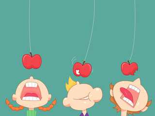 Hanging Apples Bite Kids Game