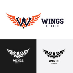 w letter logo. Wing logo. web design logo template. media logo. vector logo template