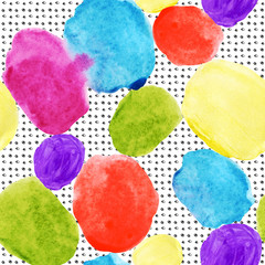 Colorful watercolor stains and grunge texture seamless pattern