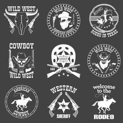 Set of wild west cowboy designed elements