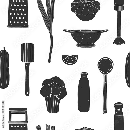 Kitchen Utensils Wallpaper cooking seamless pattern. kitchen surface design for napkins