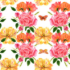 Seamless background pattern with watercolor rose bouquets and butterflies