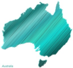 Australia continent hatched and colored
