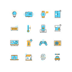 Internet of things, internet technology vector flat icons. Technology internet, web internet, control device with internet illustration
