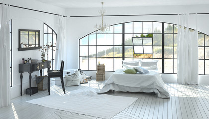 Elegant spacious white bedroom interior