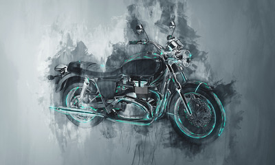 Painted motorcycle bike in gray