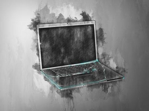 Single open laptop in gray painterly effect