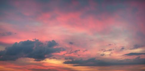 Colorful sunset sky panorama
