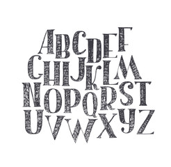 English hand drawn abc from a to z. Capital font made with nib and serif, decorated hatch alphabet, painted freehand. Isolated on background vector illustration. Letter made in classical hatched style
