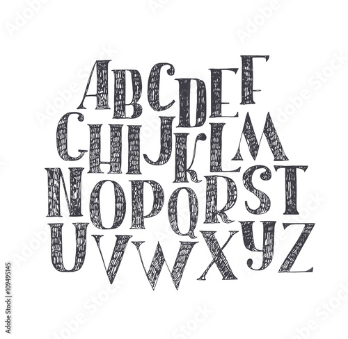 English Hand Drawn Abc From A To Z Capital Font Made With Nib And Serif