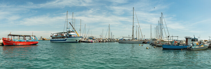 panorama of ships at the pier in of Akko