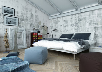 Bedroom with Modern and Antique Decor