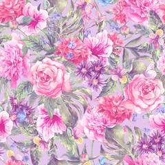 Summer pink hand drawing watercolor floral seamless pattern