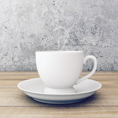 Cup of coffee on wooden table near concrete wall. 3D rendering