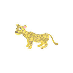 Leopard icon in cartoon style