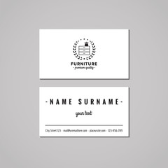 Furniture business card design concept. Furniture logo with commode and wreath. 
