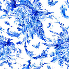 Vintage seamless pattern with blue pair of peacocks