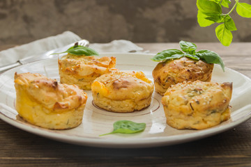 Potato muffins with chicken,cheese and Basil