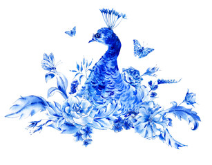 Vintage blue peacocks with watercolor roses
