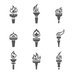 Set of burned torches. Flet icon